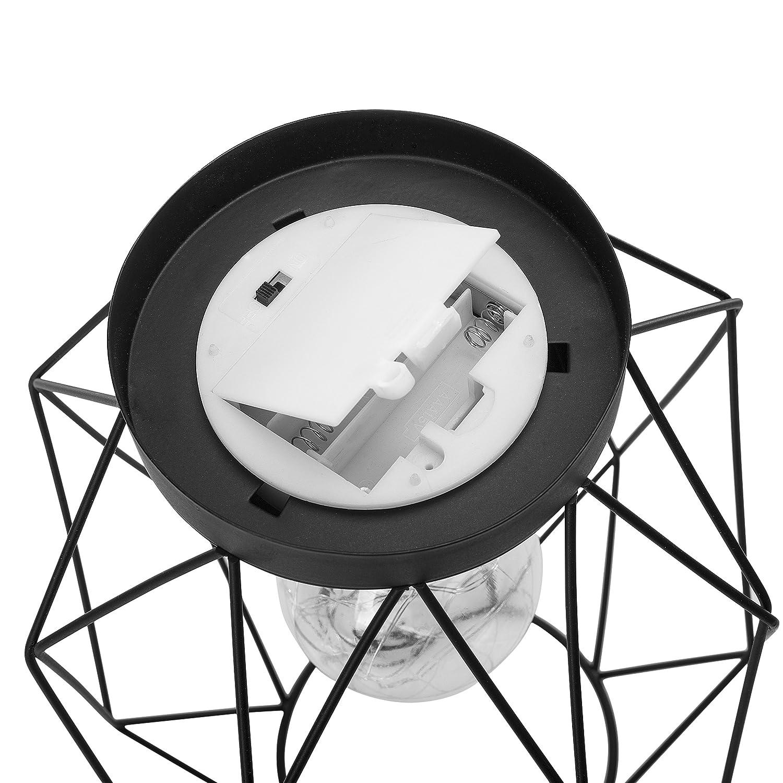 Smartwares Dekorative Tischleuchte Metall Schwarz 1 W Gitterdesign 21 x 17,5 x 17,5 cm batteriebetrieben