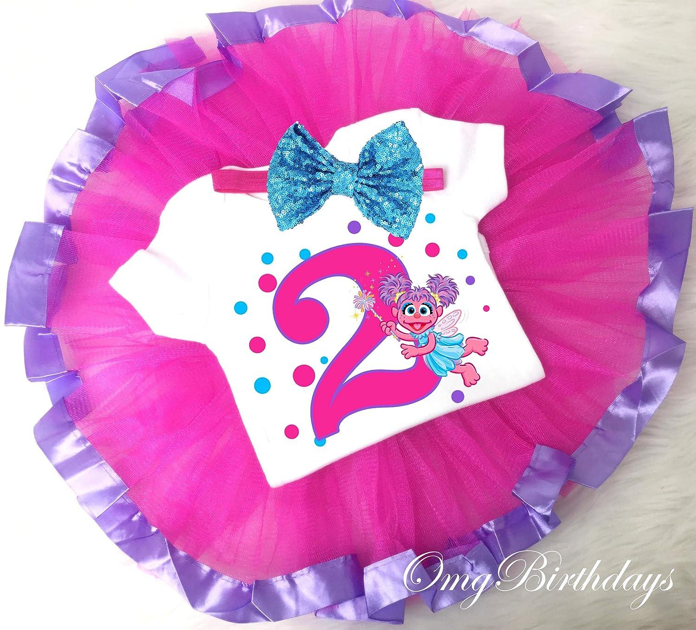 Abby Cadabby Pink Purple Tutu Shirt Headband 2nd Birthday Girl Outfit Set dress