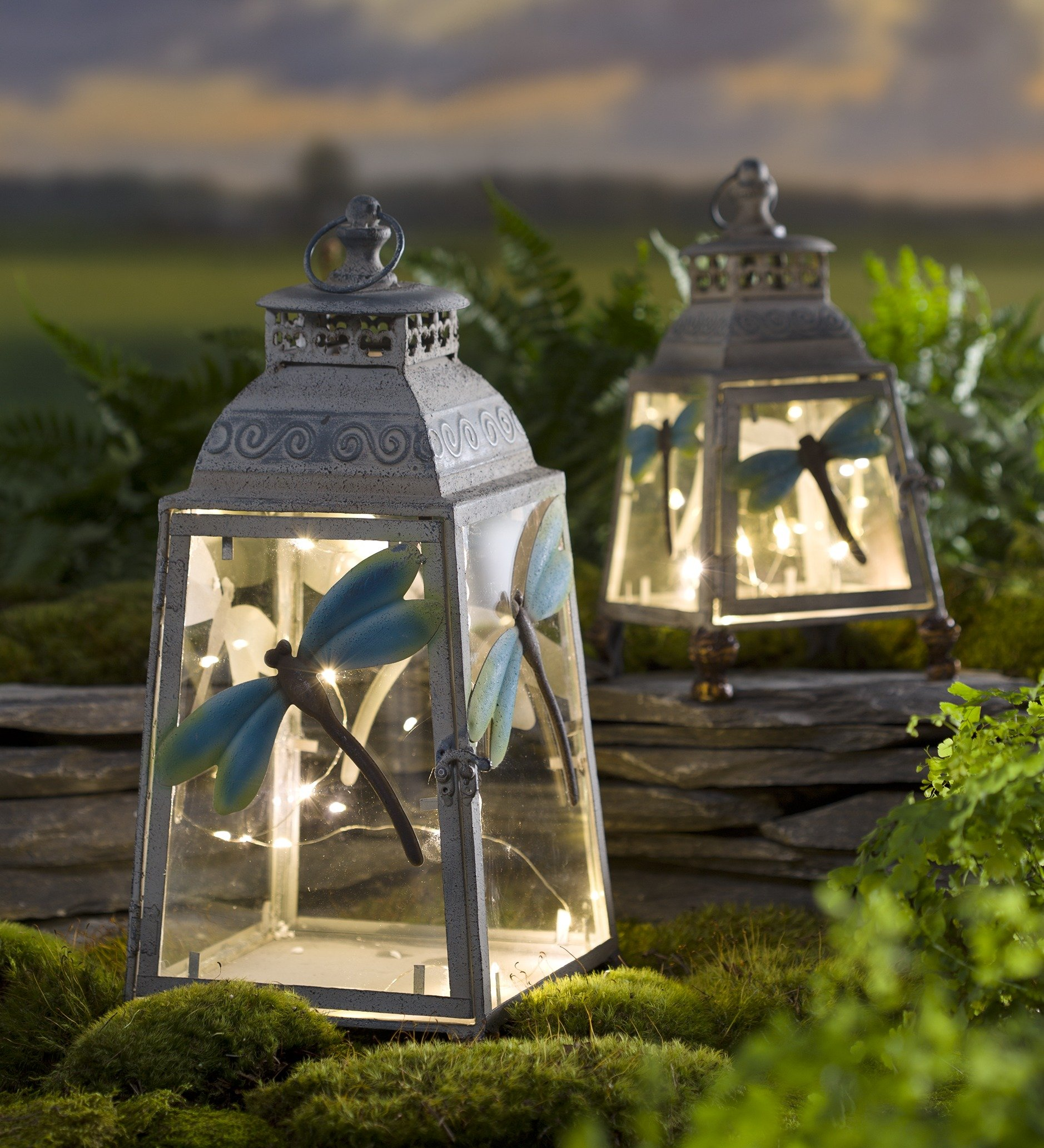 Large Metal Dragonfly Lantern by Wind & Weather®