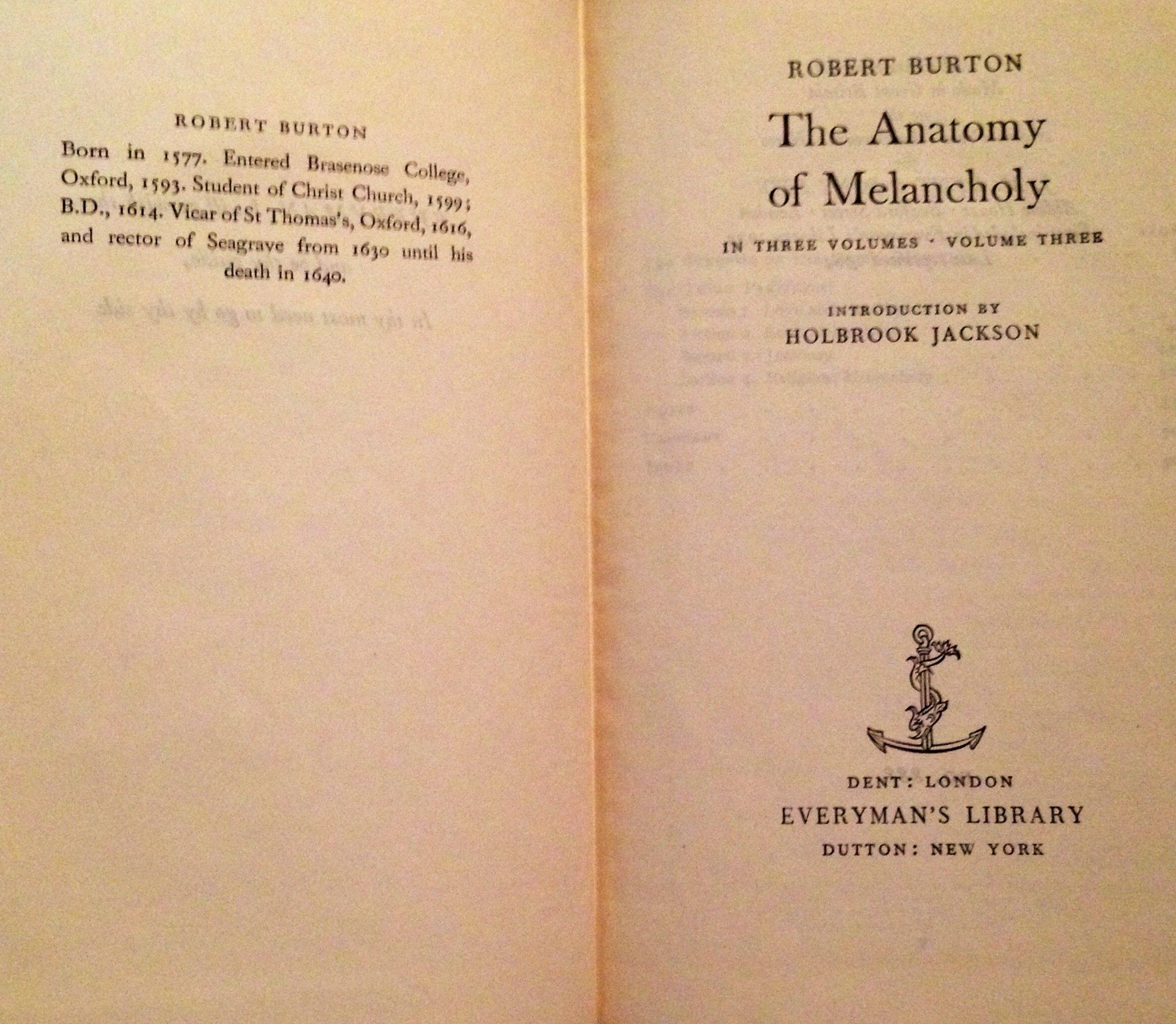 The Anatomy Of Melancholy 3 Volumes Robert Burton Amazon Books