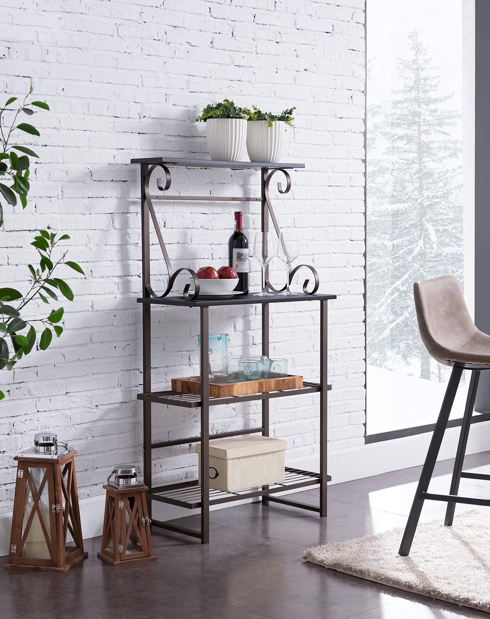 Kings Brand Furniture - Covington Metal Kitchen Baker's Rack, Pewter by Kings Brand Furniture