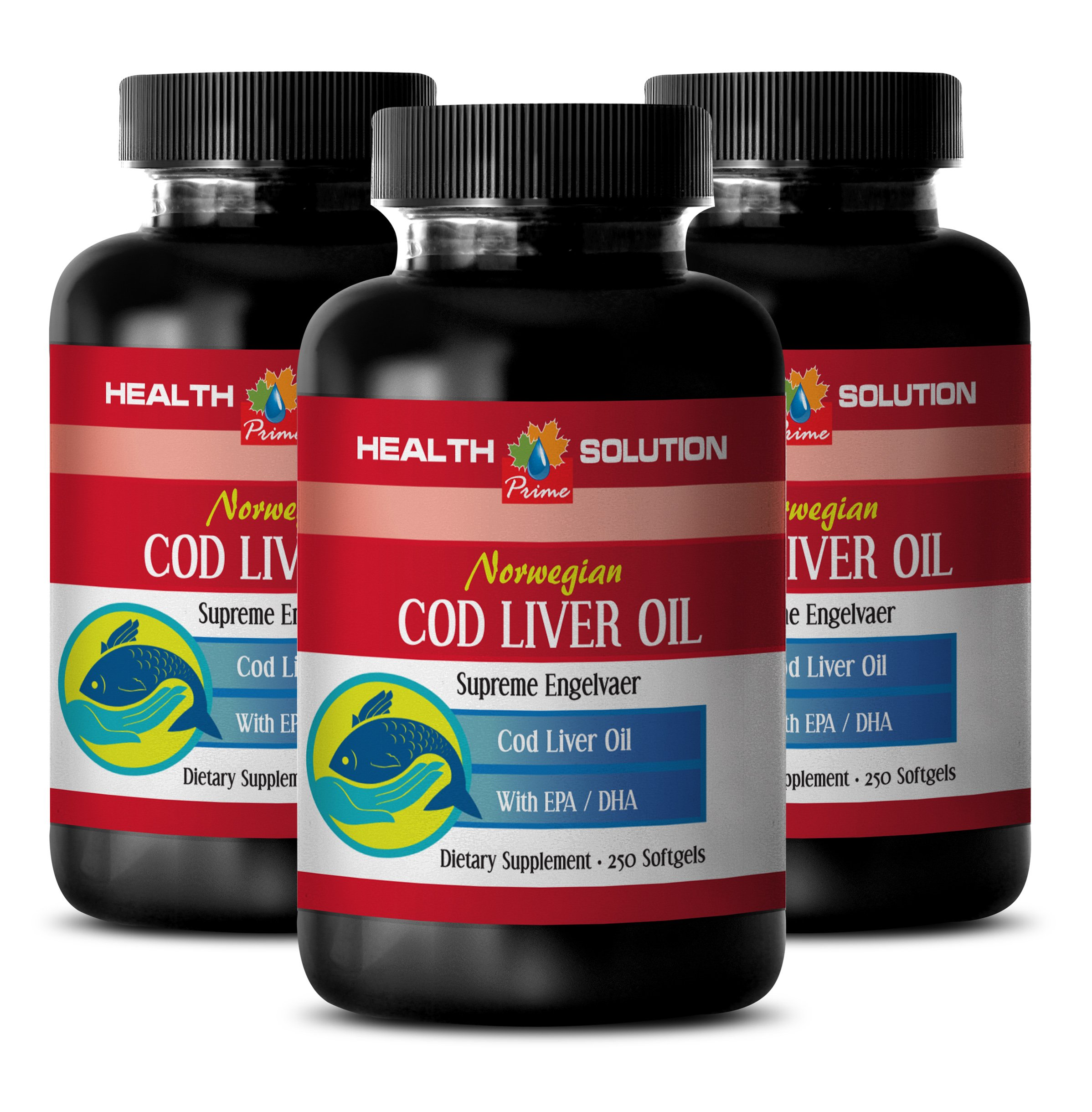 Digestive aid supplements - NORWEGIAN COD LIVER OIL with Vitamins A & D3/EPA & DHA - Norwegian cod liver oil softgels - 3 Bottles 750 Softgels