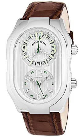 Philip Stein Men Signature Silver Dial Brown Leather Strap Dual Time Swiss Quartz Watch