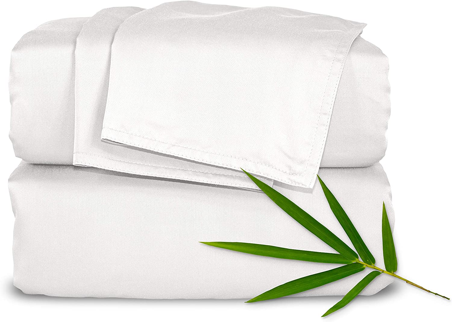 "Pure Bamboo Sheets - Queen Size Bed Sheets 4-pc Set - 100% Organic Bamboo - Incredibly Soft - Fits Up to 16"" Mattress - 1 Fitted Sheet, 1 Flat Sheet, 2 Pillowcases (Queen, White)"