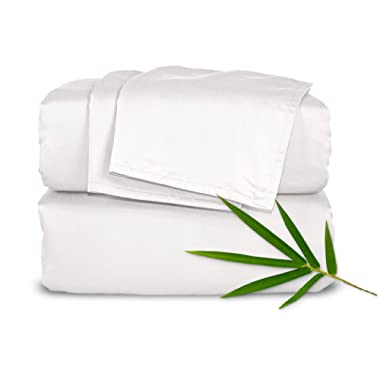 """Pure Bamboo Sheets - King Size Bed Sheets 4-pc Set - 100% Organic Bamboo - Incredibly Soft - Fits Up to 16"""" Mattress - 1 Fitted Sheet, 1 Flat Sheet, 2 Pillowcases (King, White)"""
