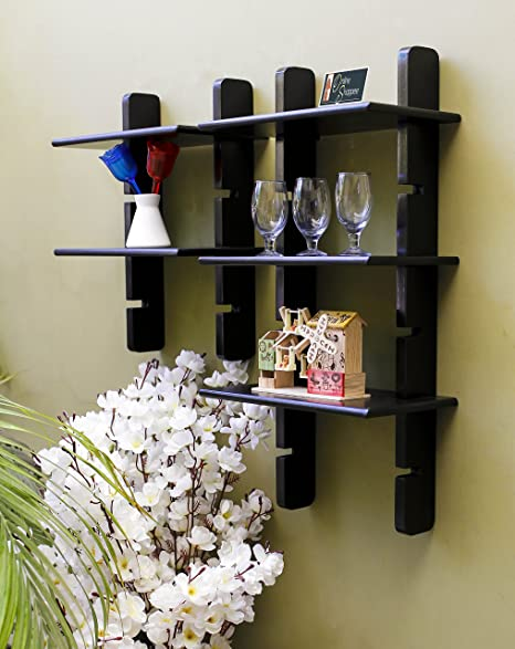 c22a3c2d144 Onlineshoppee Beautiful Ladder Wall Shelf (Black)  Amazon.in  Home   Kitchen