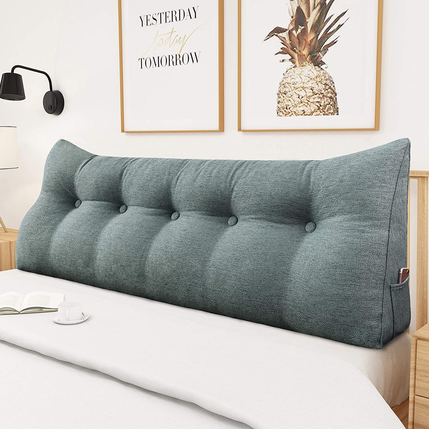 VERCART Headboard Reading Pillow UpholsteWhite Wedge Cushion Back Rest Positioning Pillow Support Bolster Backrest Cushion Lumbar Pad for Bed and Couch White 17.7