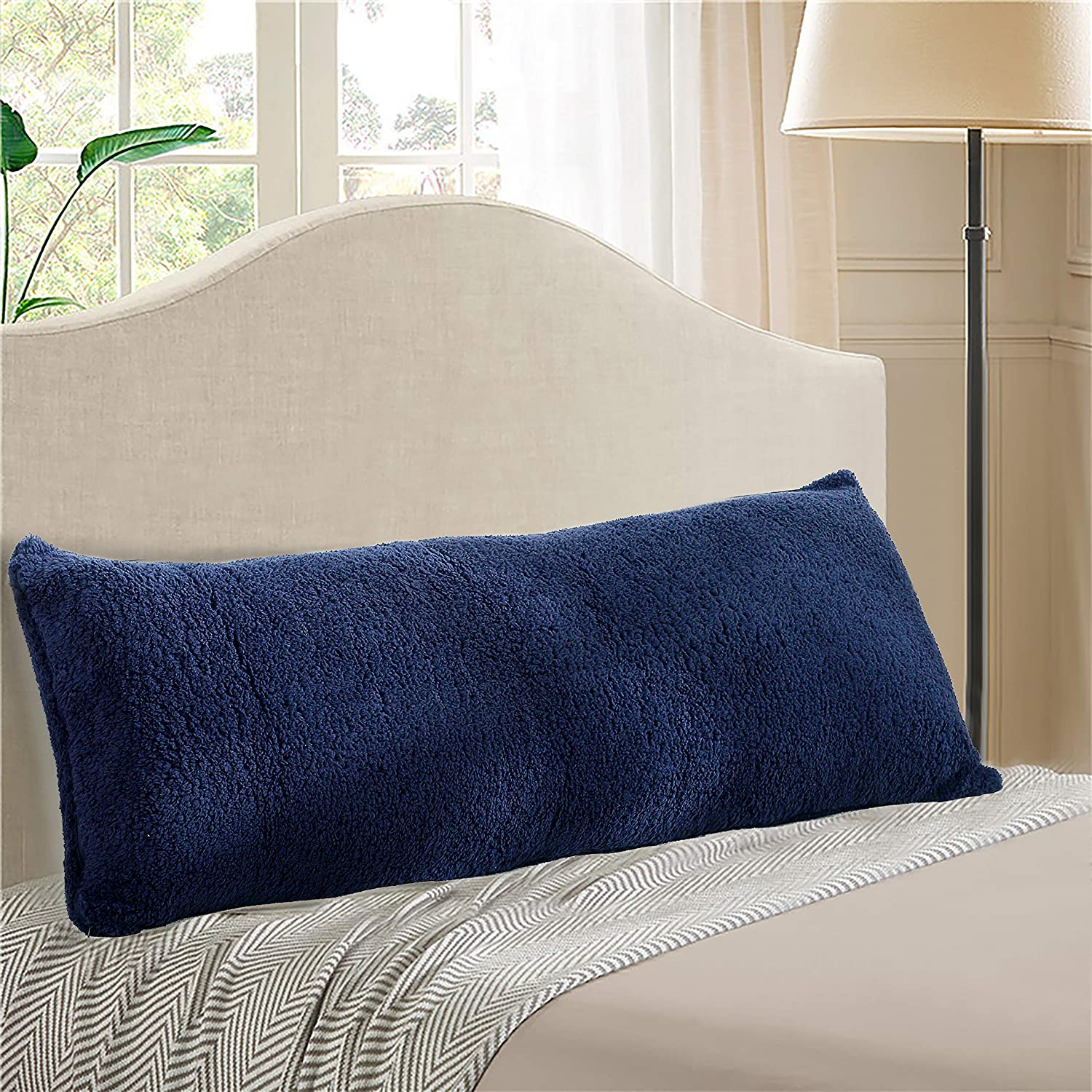Sherpa Body Pillow Cover.Reafort Ultra Soft Sherpa Body Pillow Cover Case With Zipper Closure 21 X54 Navy 21 X54 Pillow Cover