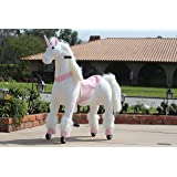 MEDALLION - My Pony Ride On Real Walking Horse for Children 5 to 12 Years Old or Up to 110 Pounds (Color MEDIUM PINK UNICORN) For Girls 5 to 12 Years Old