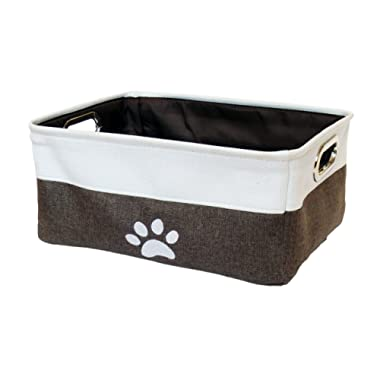 """Winifred & Lily Pet Toy and Accessory Storage Bin, Organizer Storage Basket for Pet Toys, Blankets, Leashes and Food in Embroidered """"Paws"""", Beige/Brown"""