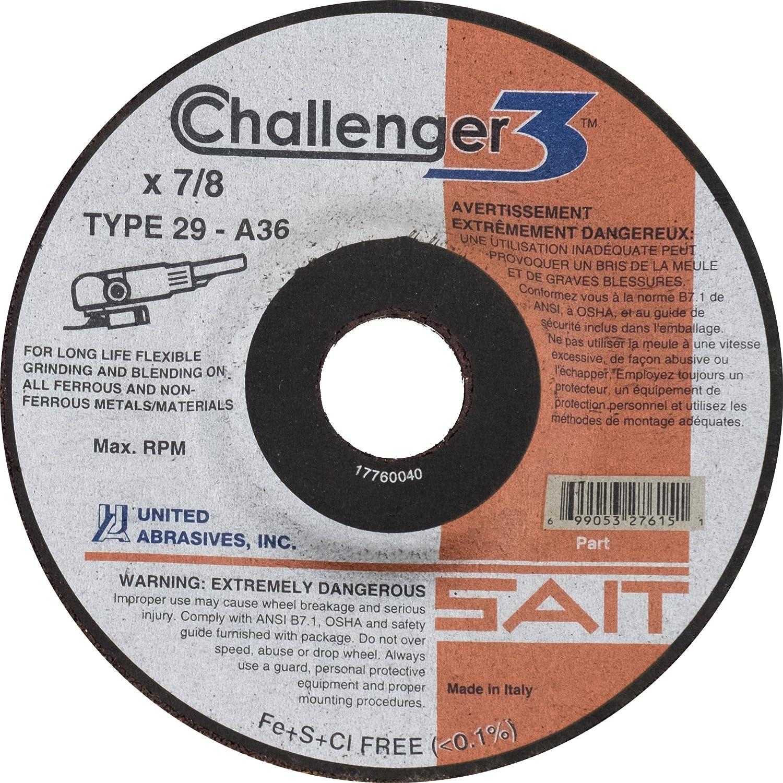 36 Grit Challenger 3 10 Per Box 4-1//2 X 1//8 X 7//8 United Abrasives-SAIT 27610 Type 29 Flexible Grinding//Blending Wheel