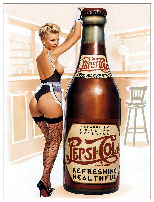Cartel metálico de chica Pepsi estilo vintage, para pared. ALUMINIUM SIGN