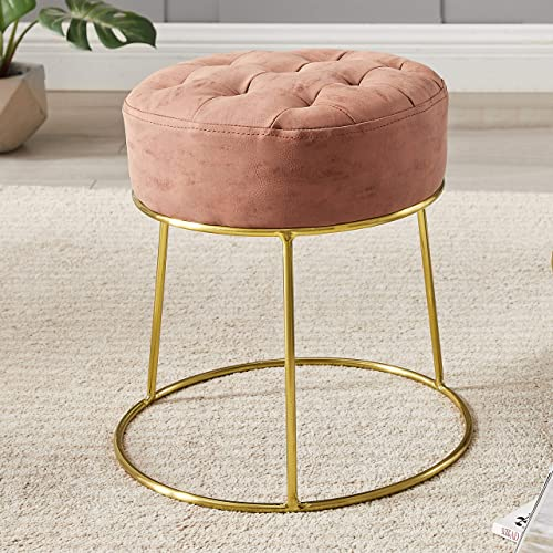 Art Leon Small Round Stool Stackable Footstool Leather Pouf Ottoman Foot Rest