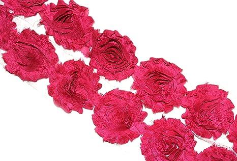 "1 yard light plum 2.5/"" shabby chiffon rose trim fabric flowers DIY supply"