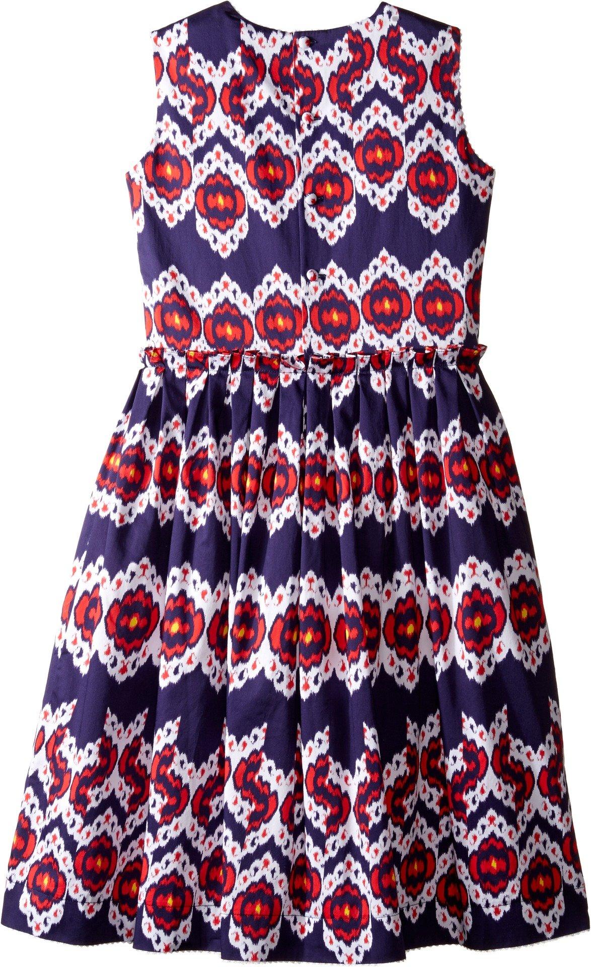 Oscar de la Renta Childrenswear Baby Girl's Ikat Cotton Gathered Skirt Party Dress (Toddler/Little Kids/Big Kids) Navy/Cherry Dress by Oscar de la Renta (Image #2)