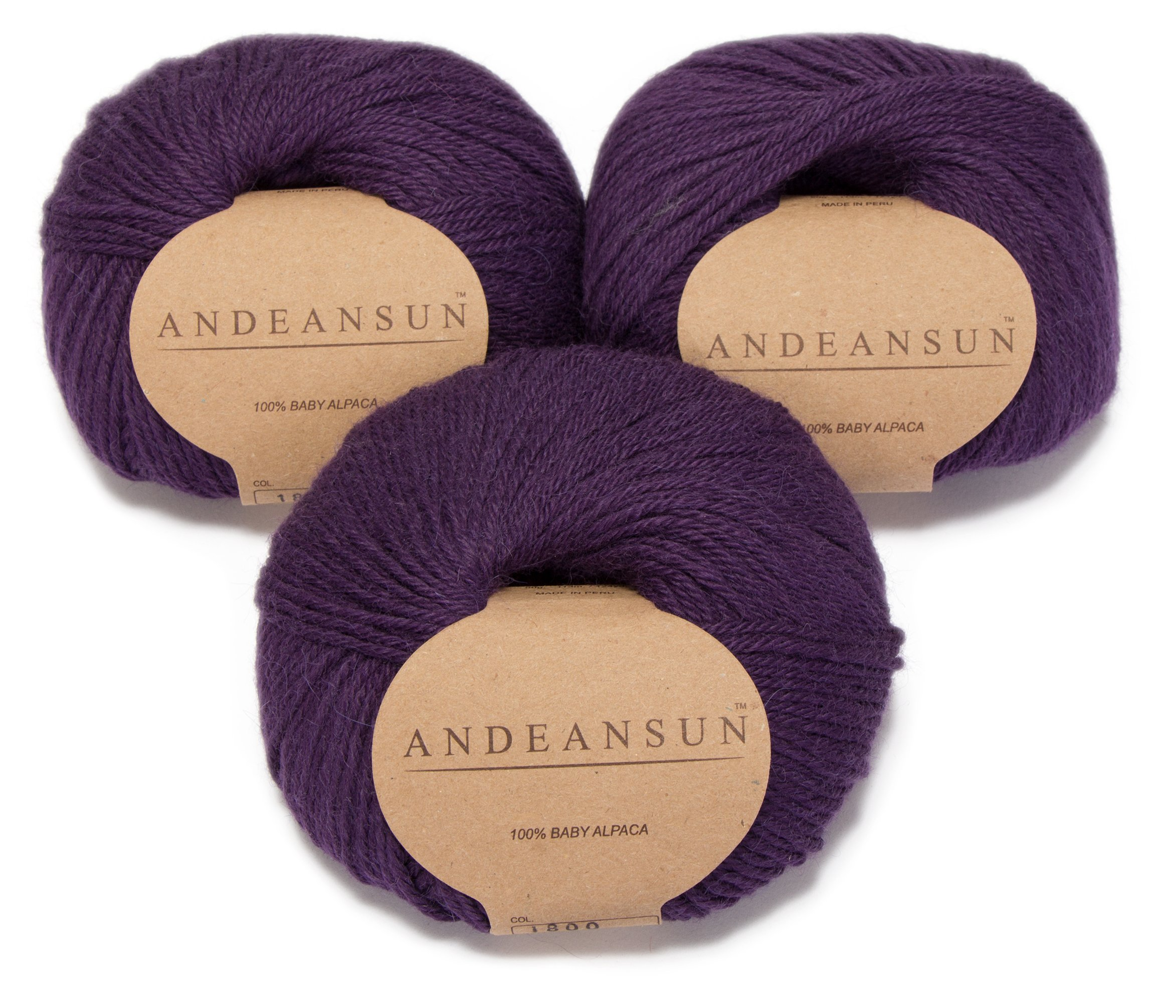 100% Baby Alpaca Yarn Skeins - Set of 3 (Dark Purple) - AndeanSun - Luxuriously Soft for Knitting, Crocheting - Great for Baby Garments, Scarves, Hats, and Craft Projects - Dark Purple