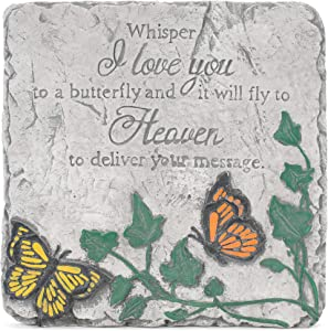 Transpac Whisper I Love You Butterfly Square Grey 10 x 10 Cement Decorative Outdoor Garden Stone