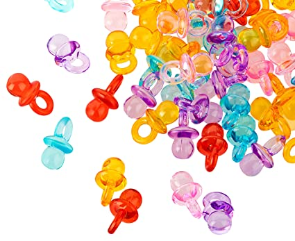 100 chupetes decorativos en miniatura, 2 cm, chupetes para fiestas de bebé o como colgante, chupetes de bebé de fibra acrílica, Kleenes Traumhandel®
