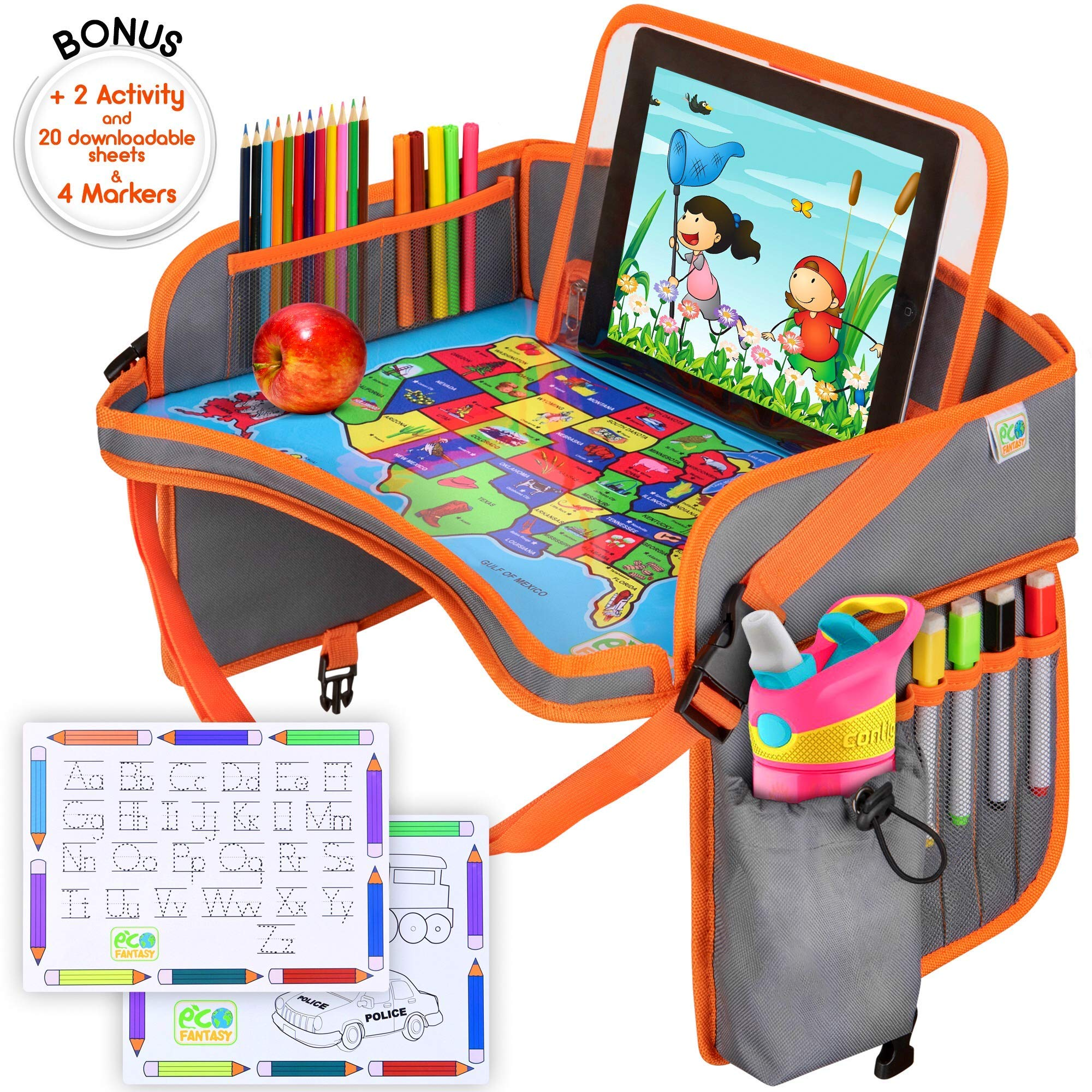 US Kids Travel Car Seat Tray - Toddlers Carseat Tray Organizer - Large Tablet & Cup Holder - Waterproof Food & Snack Lap Tray - Road Trip Activities for Kids - Travel Games for Kids in Airplane by EcoFantasy