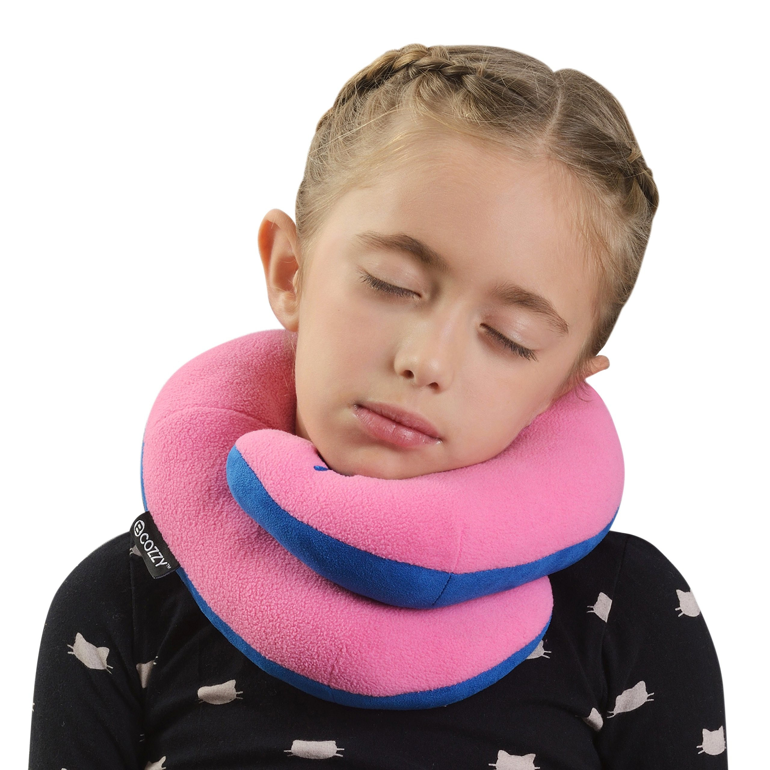 BCOZZY Kids Chin Supporting Travel Neck Pillow - Supports the Head, Neck Chin in A Patented Product. CHILD Size, PINK