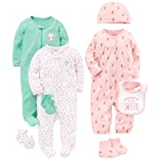 Simple Joys by Carter's Baby Girls' 8-Piece Footed Take Me Home Set, Pink/Mint, 6-9 Months