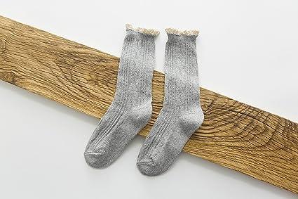 Señoras calcetines_sweet LACE LACE storehouse calcetines de lana de color sólido?2pares?, Otoño