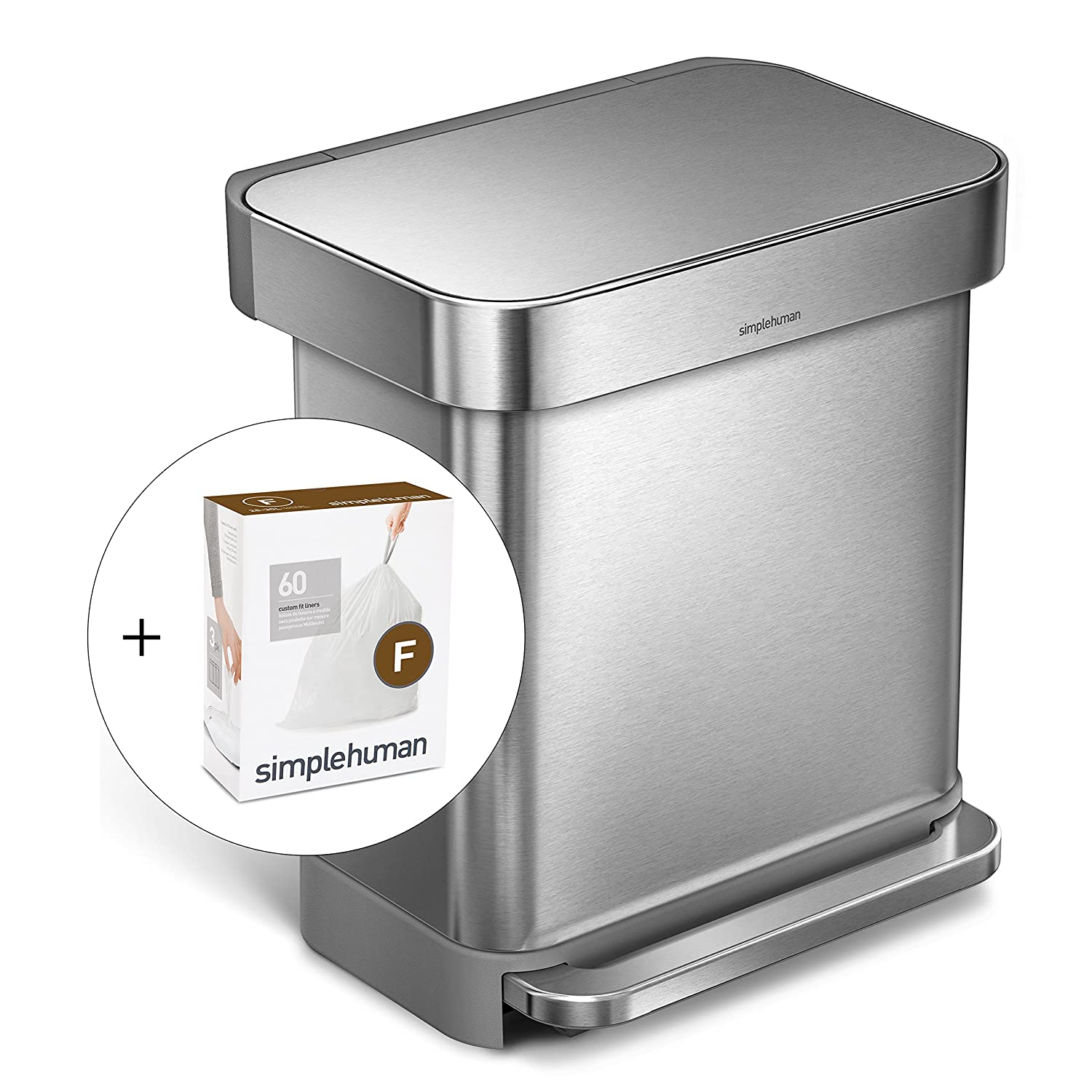 simplehuman 30L Rectangular Step Trash Can with Liner Pocket, Brushed Stainless Steel, with 60 pack custom fit liner code F CW2028 + CW0256