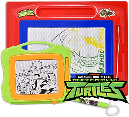 Teenage Mutant Ninja Turtles Magnetic Drawing Board, Large Erasable Doodle Sketching Pad with Travel Size Sketcher to Color, Draw and Erase for Kids, ...