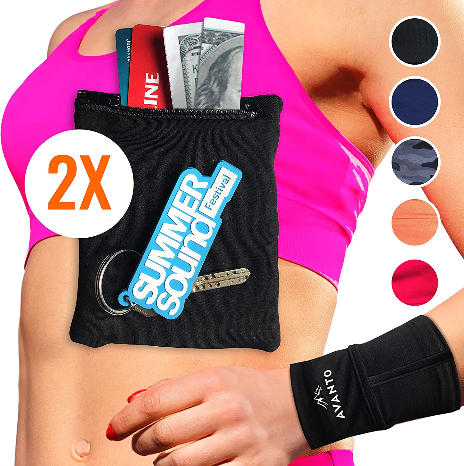 AVANTO Ninja Wrist Wallet, Ankle Wallet, Sweat Bands, Armband, Hidden Pouch, Wristlet Wallet for Travel, Running Pouch for Your Running Accessories, ...