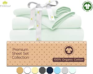 Tissaj Twin XL Size Bed Sheets Set - Mint Icing - 100% GOTS Certified Organic Cotton - 500 Thread Count 3 Piece Bedding 1 Pillow Case, Flat Sheet & Fitted Sheet with 16 Inch Deep Pocket