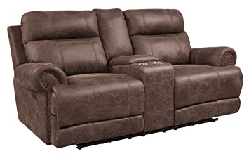 Homelegance Aggiano Double Power Reclining Loveseat with Adjustable Headrest, USB Port and Console, Brown