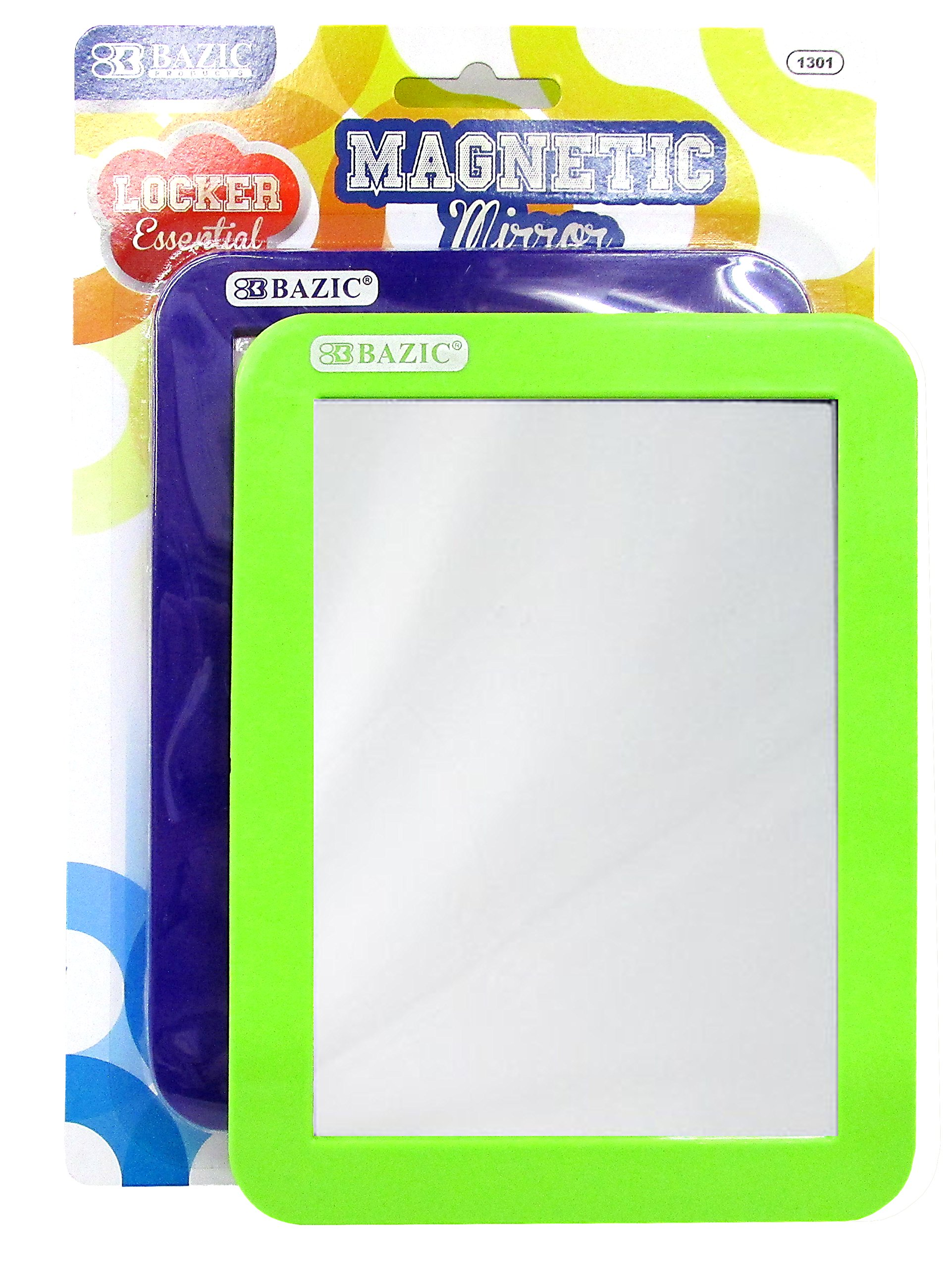 Set of 2 Magnetic Locker Mirrors - Dimensions: 5.5'' x 7'' - Durable Acrylic