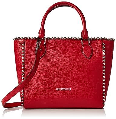 Moschino Borsa Vitello Pebble Rosso, Sacs portés épaule femme, (Red), 9x25x36 cm (B x H T)