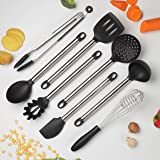 COOKSMARK Kitchen Utensils Set, 8-Piece Heat Resistant Nonstick Cooking Utensils, Silicone & Stainless Steel - Tong, Spaghetti Server, Turner, Spatula, Whisk, Spoon, Ladle, Strainer - Dishwasher Safe