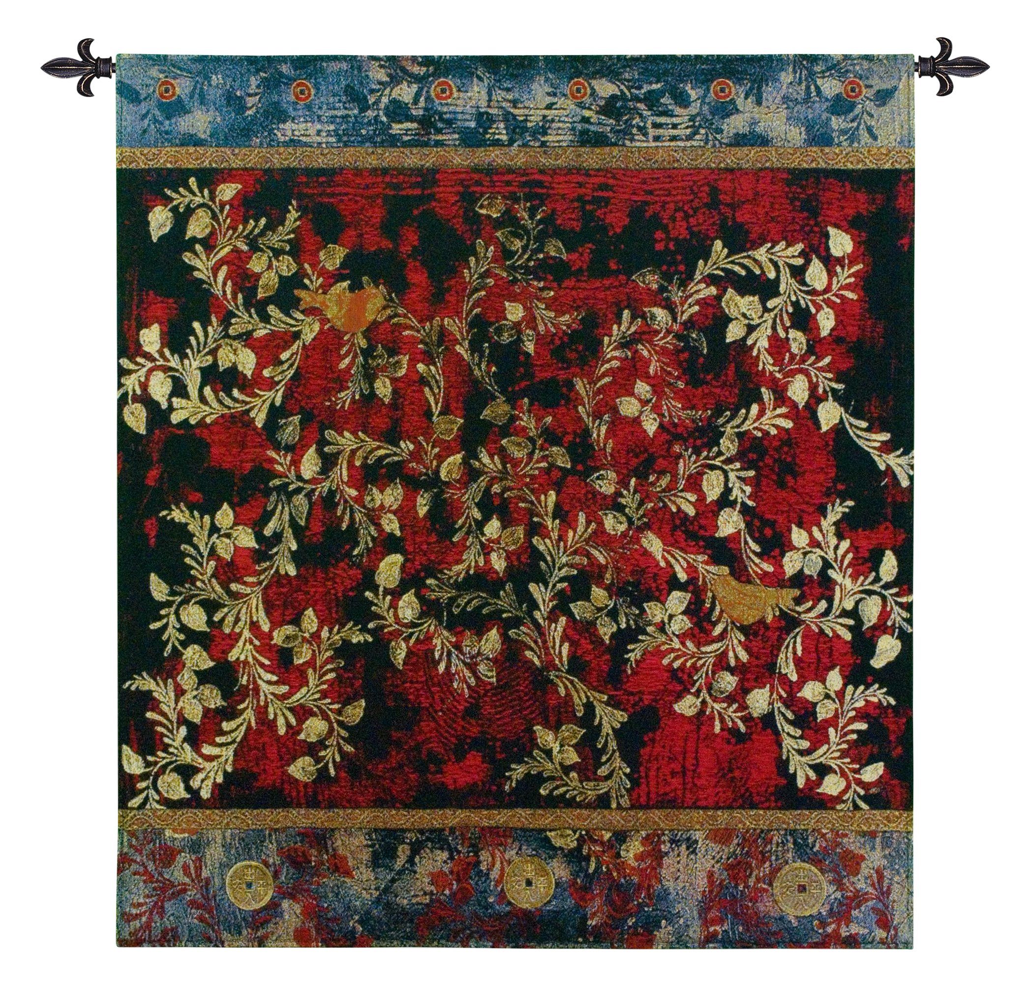 Fine Art Tapestries ''Love Birds'' Wall Tapestry, Large