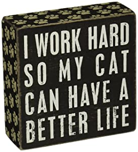 """Primitives by Kathy Paw Print Trimmed Box Sign, 5"""" Square, Cat Better Life"""