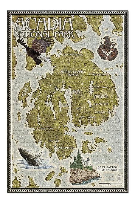 Maine Map Usa.Amazon Com Acadia National Park Maine Map 20x30 Premium 1000
