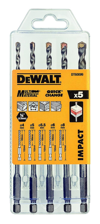 DeWalt broca multiusos (Juego de 5 piezas Impacto fijo, 1 pieza, Plata, dt60099 de QZ 1pieza dt60099de QZ DT60099-QZ