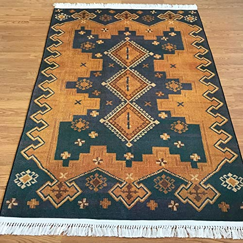 Turkish Kilim Design Area Rug for Kitchen Dining Room Living Room Hallway Rugs 4×6 5×7 6×9 7×10 7 x10 , Blue