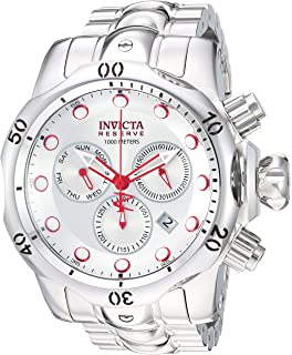 Invicta Mens Reserve Quartz Stainless Steel Casual Watch, Color:Silver-Toned