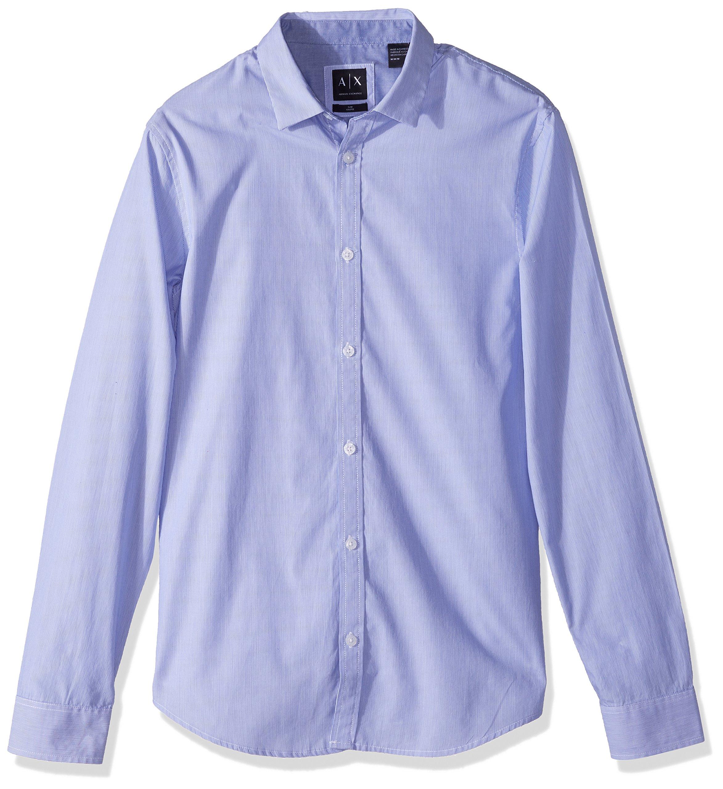 A|X Armani Exchange Men's Fine Striped Blue Button Down, Bluette/White, S