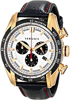 Versace Men s  V-Ray  Quartz Stainless Steel and Leather Casual Watch, Color 3c312fb04d3