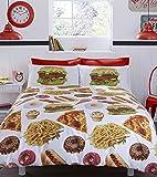 #Bedding Fast food got the Munchies set copripiumino, 52% poliestere/48% cotone, multicolore, matrimoniale