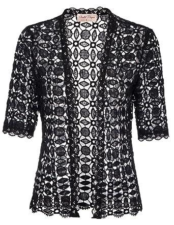 Belle Poque Women s Lace Shrug Cardigan Half Sleeve Open Front ... 947699ac0