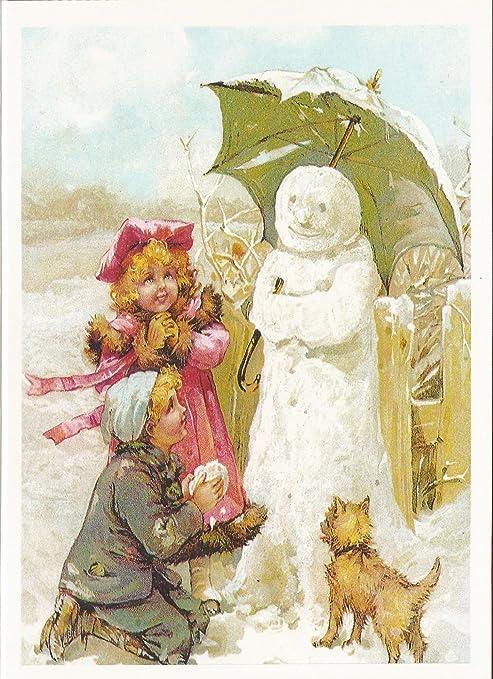 Immagini Di Natale Vintage.Biglietto Di Natale Vintage Immagine Bambini Snowman Jack Frost