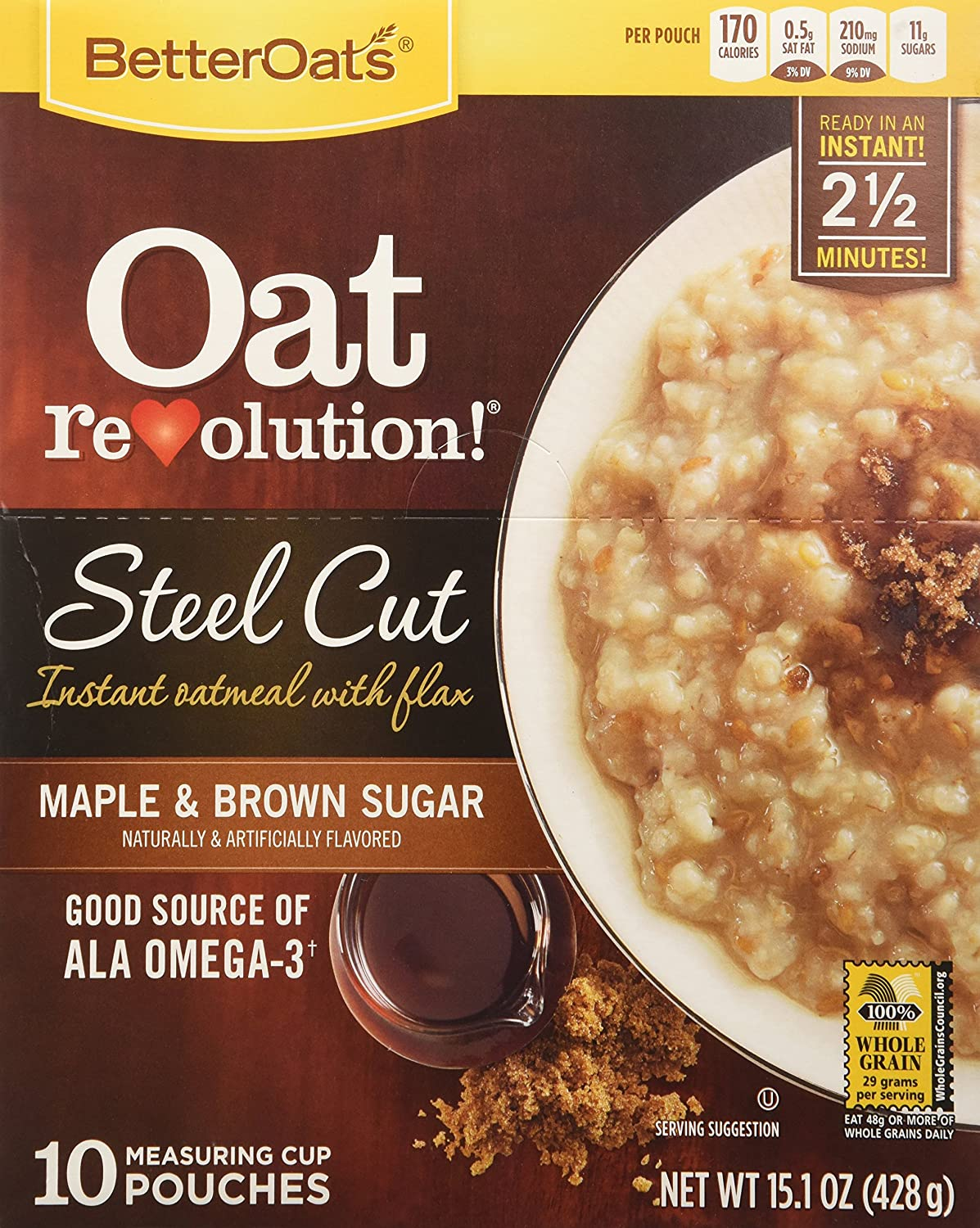 Better Oats Oat Revolution Maple and Brown Sugar Steel Cut Oats, 15.1 Ounce -- 6 per case.