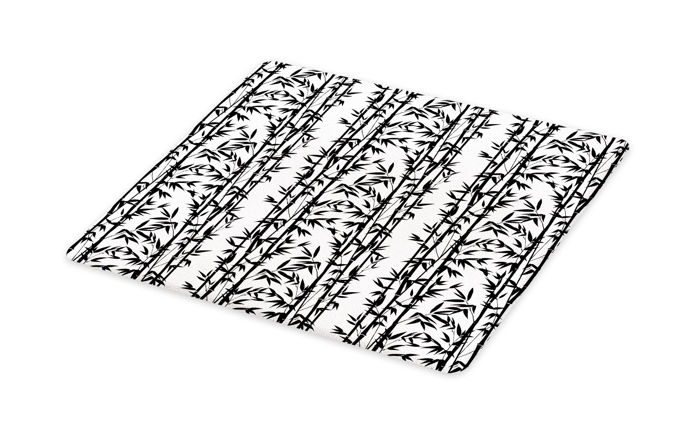 Lunarable Bamboo Cutting Board, Monochrome Natural Inspirations with Bamboo Tree Growth Exotic Garden Zen Spa Art, Decorative Tempered Glass Cutting and Serving Board, Large Size, Black White