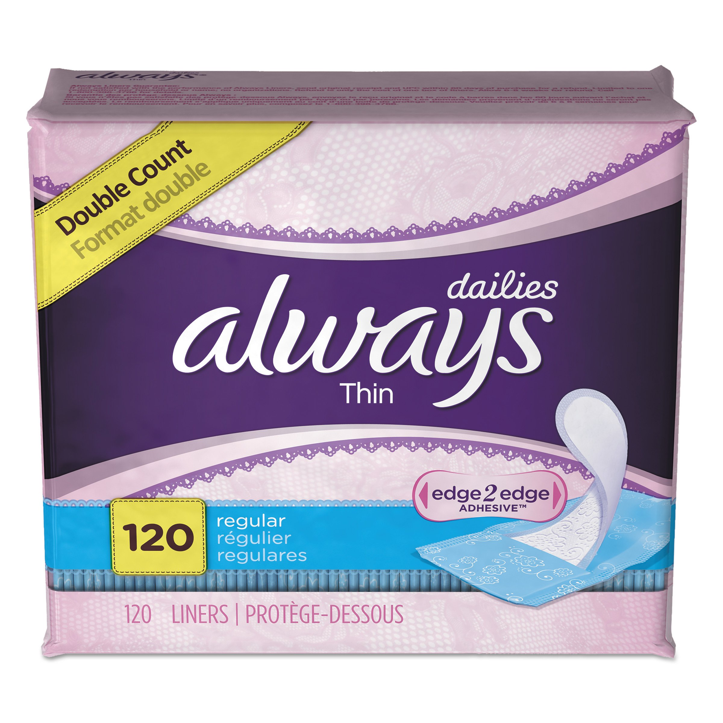 Always 10796 Dailies Thin Liners, Regular, 120 per Pack (Case of 6 Packs) by Always