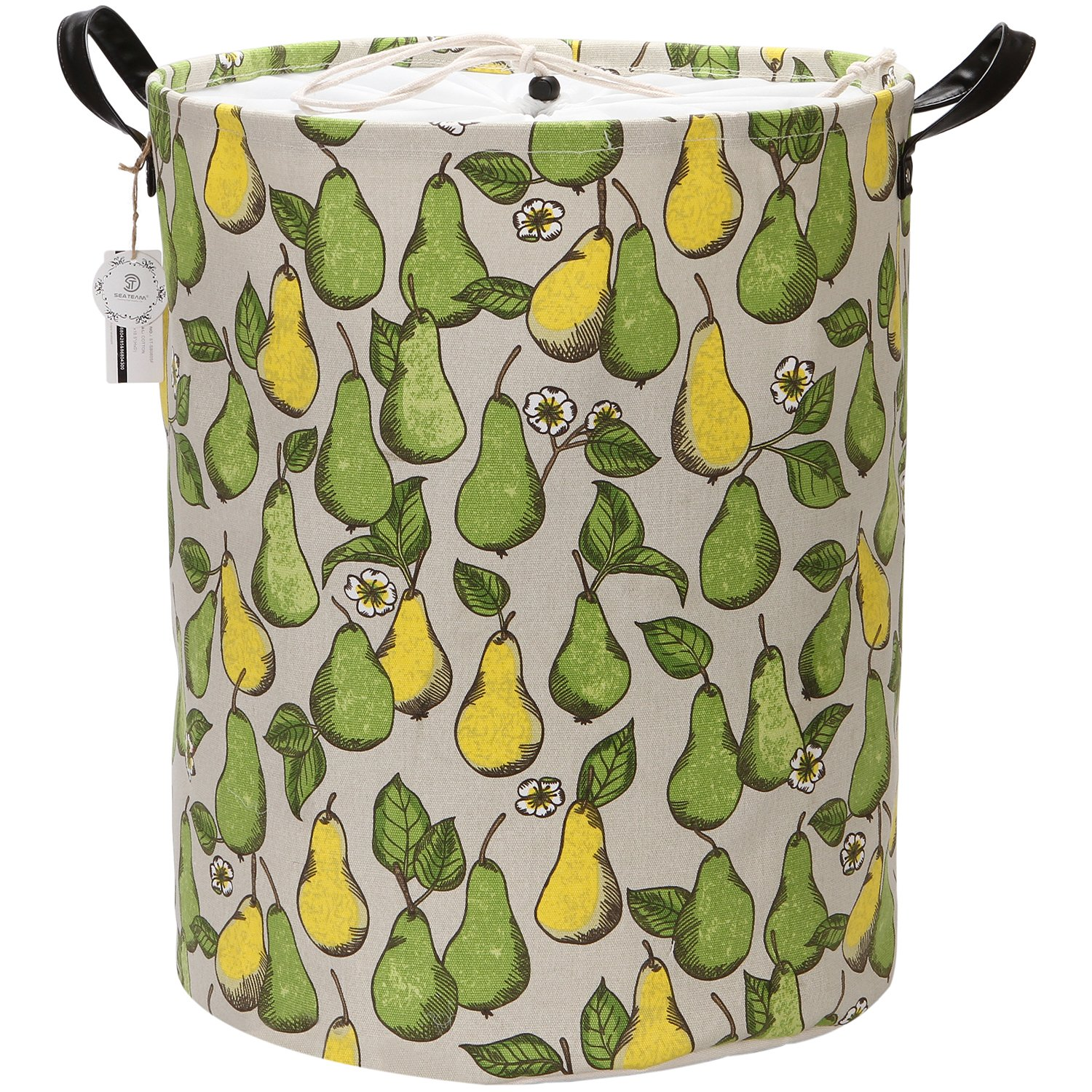 Sea Team 19.7'' Large Size Stylish Pear Design Canvas & Linen Fabric Laundry Hamper Storage Basket with Premium PU Leather Handles for Kid's Room, Drawstring Cover with Waterproof Coating