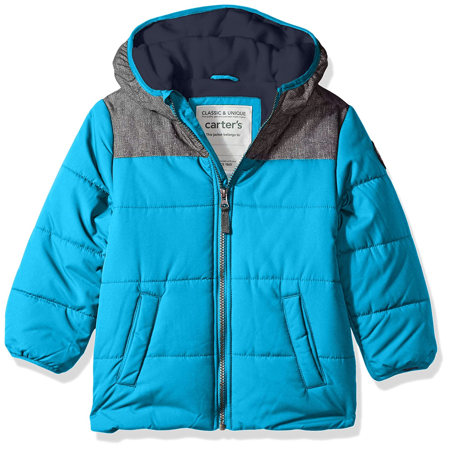 Carter's Boys' Little Puffer Jacket Coat with Soft Fabric Yolk Teal/Navy 5/6 Carter' s C217E12
